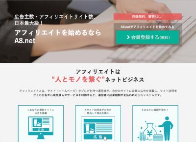 A8.net新規登録画面