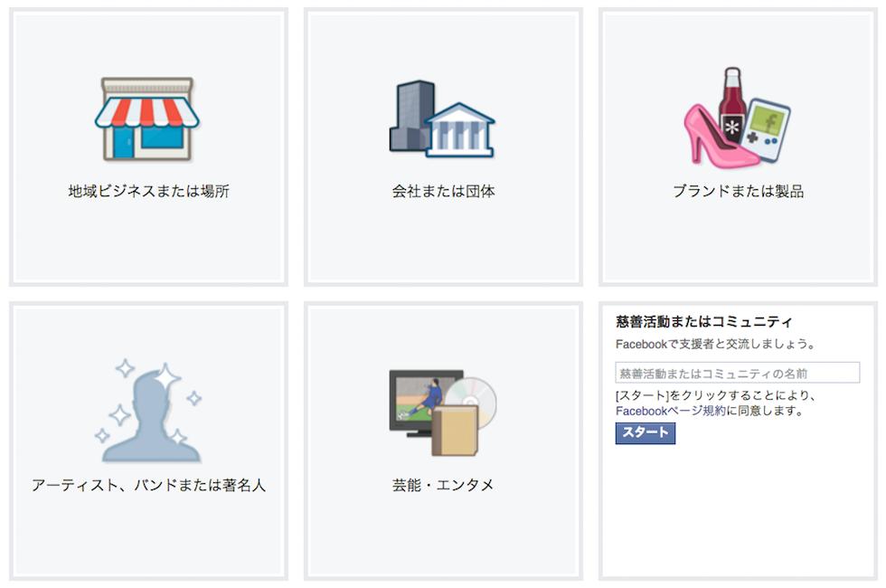 Facebookページ作成、慈善活動またはコミュニティの作成を選択した場合の表示