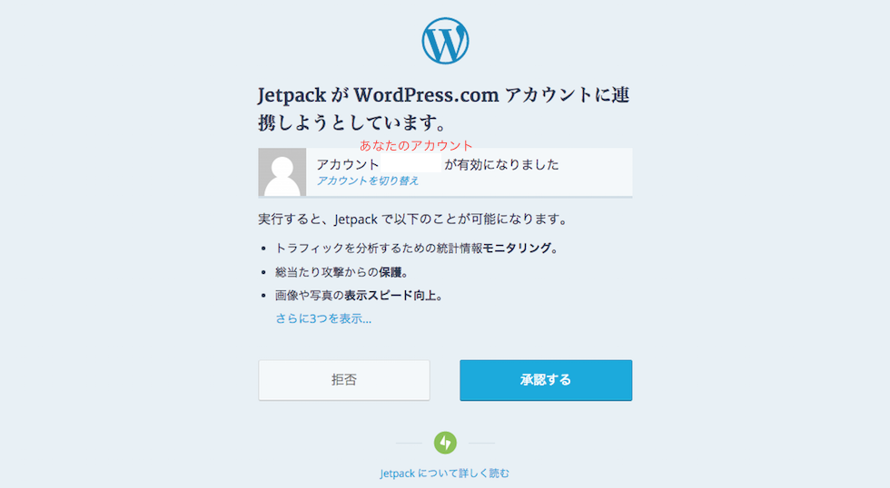 WordPressアカウント作成、承認画面