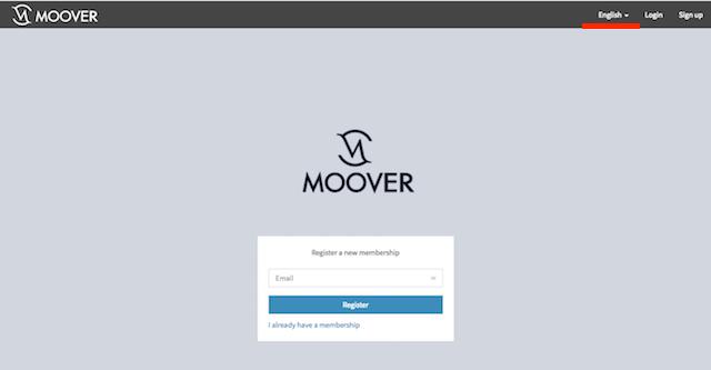 MOOVER(ムーバー)プレセール参加、言語変更
