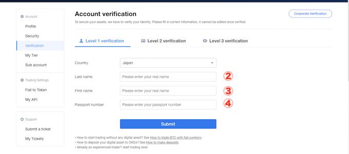 OKEx新規登録/レベル2承認/name、passpor